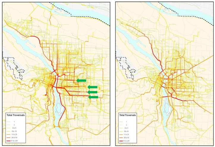 Maps showing routes of bicycle trips versus shortest path routes